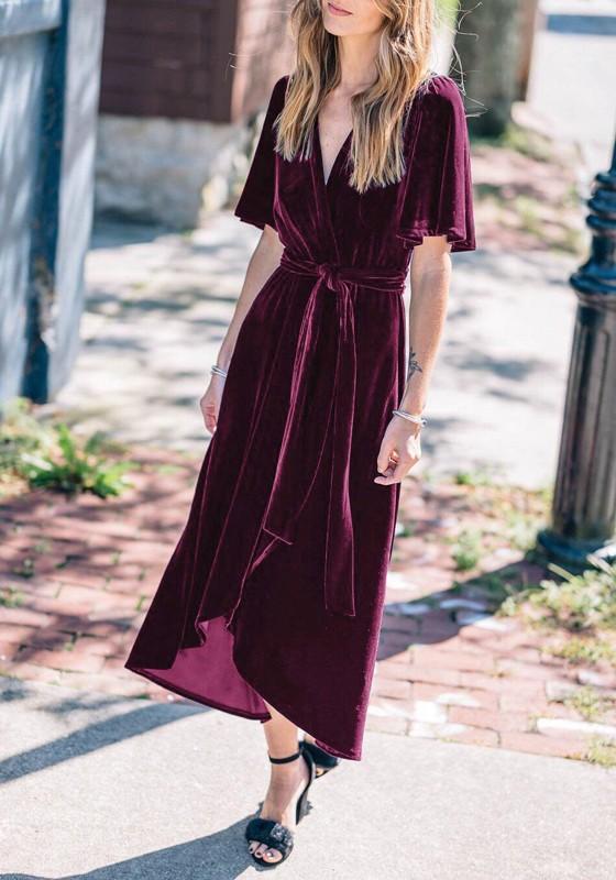 d90b129a807 Burgundy Irregular Sashes Velvet Bow V-neck Short Sleeve Maxi Dress - Maxi  Dresses - Dresses