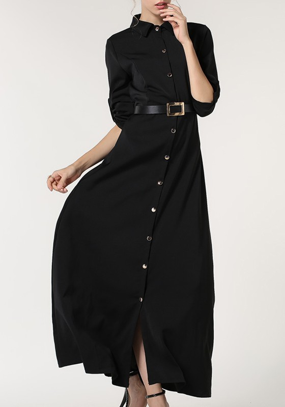 60410d05ce49 Black Belt Single Breasted Turndown Collar Long Sleeve Casual Maxi Dress -  Maxi Dresses - Dresses