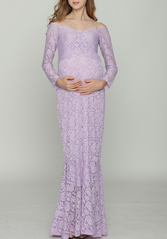 bcc0e8ce15bb0 Lilac Lace Off Shoulder Backless Mermaid Maternity Photoshoot Elegant Maxi  Dress - Maternity Dresses - Women's Maternity