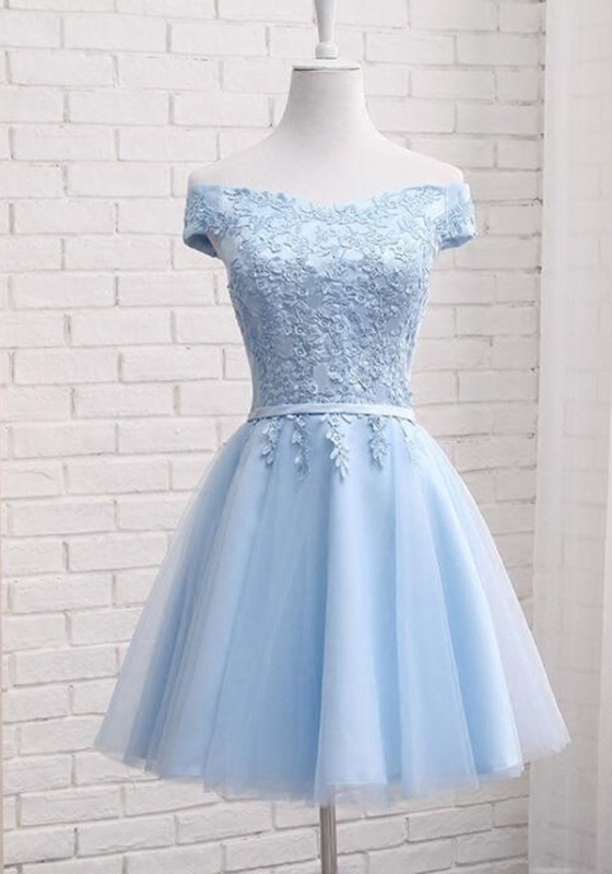 a499f390 Light Blue Drawstring Lace Off Shoulder Tutu Homecoming Bridesmaid Party  Midi Year 6 Prom Dress