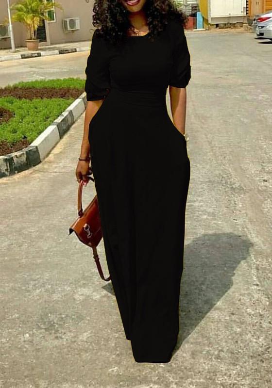 669a77cd2a Black Draped Pockets Round Neck Elbow Sleeve Maxi Dress - Maxi Dresses -  Dresses