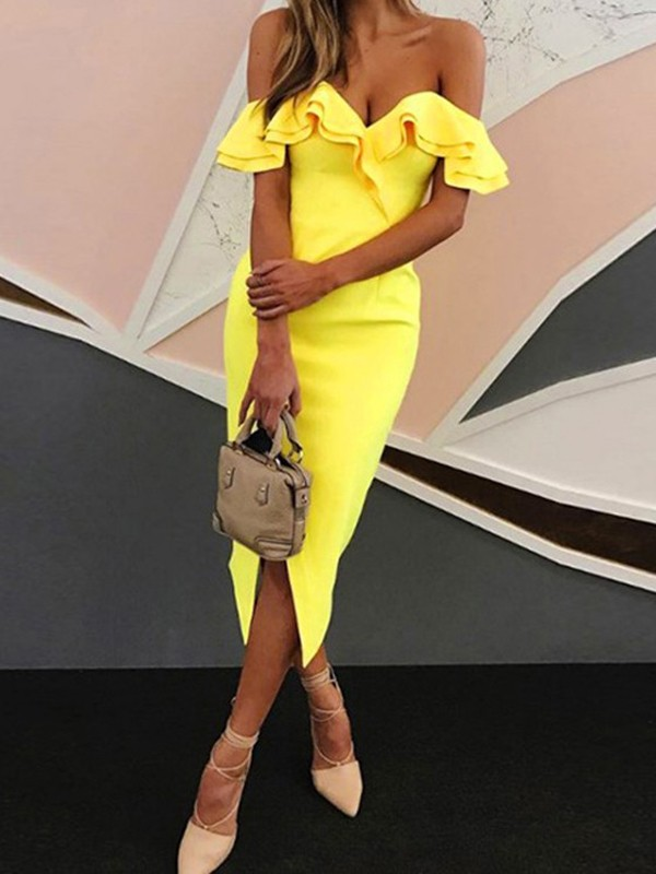 Yellow Ruffle Off Shoulder Boat Neck Backless Slit Bodycon Party ... ebc7416a0