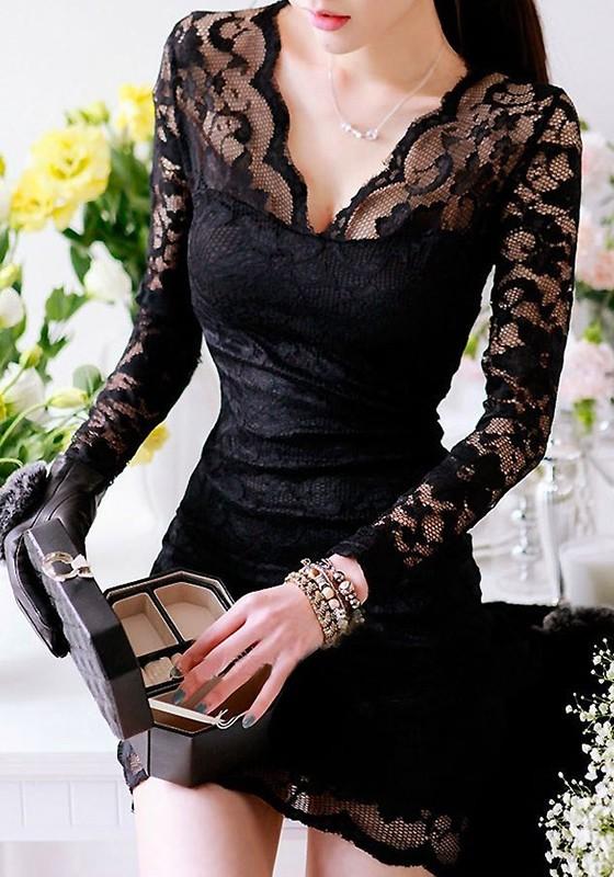 3acc707907d Mini vestido cuello en V de encaje manga larga oficinista / diario negro