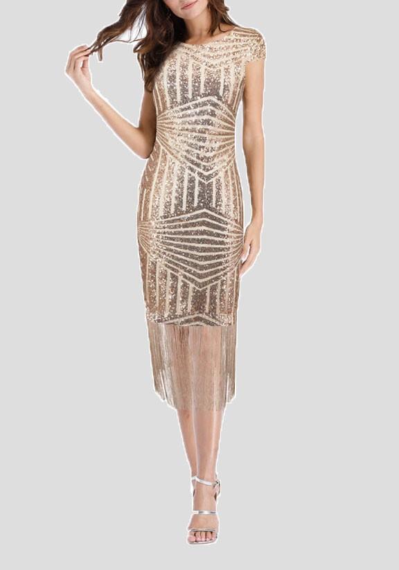 f817a9d6fda Midi-robe paillette gland bodycon brillant nouvel an réveillon champagne