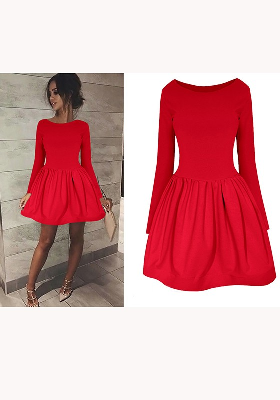 f95028769d Red Pleated Long Sleeve High Waisted Skater Tutu Cute Homecoming Mini Dress