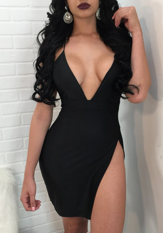 621e8bc5684 Black Spaghetti Tie Back Thigh High Side Slits Bodycon Backless Clubwear  Deep V-neck Mini Dress - Mini Dresses - Dresses