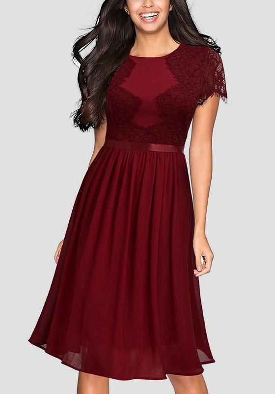 f9c6bf0ca97e2 Burgundy Patchwork Draped Lace Round Neck Short Sleeve Elegant Midi Dress - Midi  Dresses - Dresses