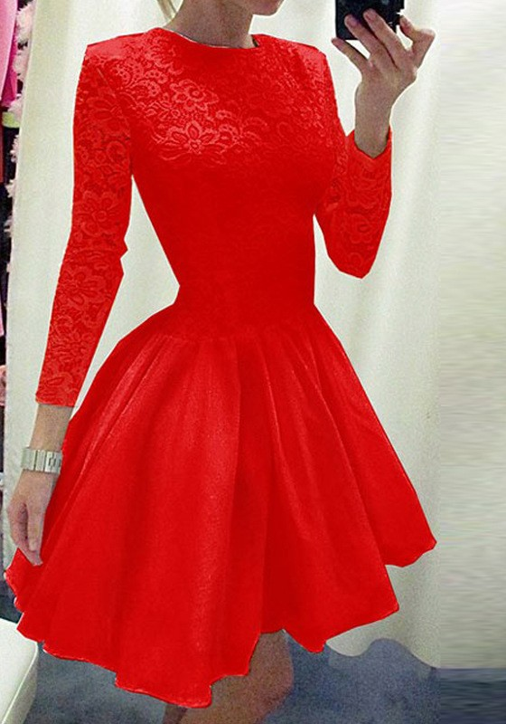 ff63bc926a Red Patchwork Lace Pleated Long Sleeve Tutu Homecoming Party Sweet Cute Mini  Dress - Mini Dresses - Dresses