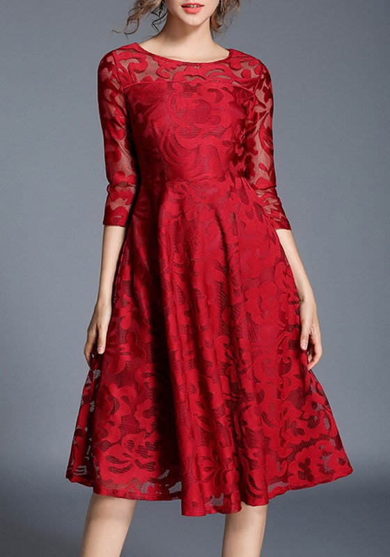Red Fl Lace High Waisted 3 4 Sleeve Valentine S Day Homecoming Party Midi Dress