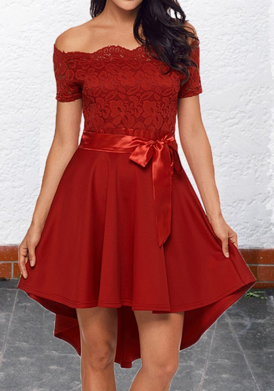 72ef6bf4b1e4 Red Floral Lace Sashes Off Shoulder High-Low Valentine's Day Homecoming  Party Midi Dress - Midi Dresses - Dresses