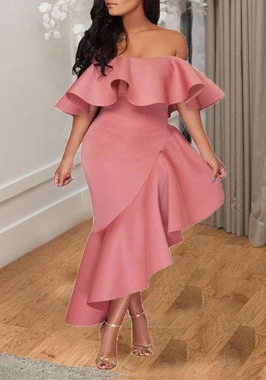 520589c6e76d7 Pink Irregular Ruffle Falbala Off Shoulder Backless Banquet Elegant Party  Maxi Dress