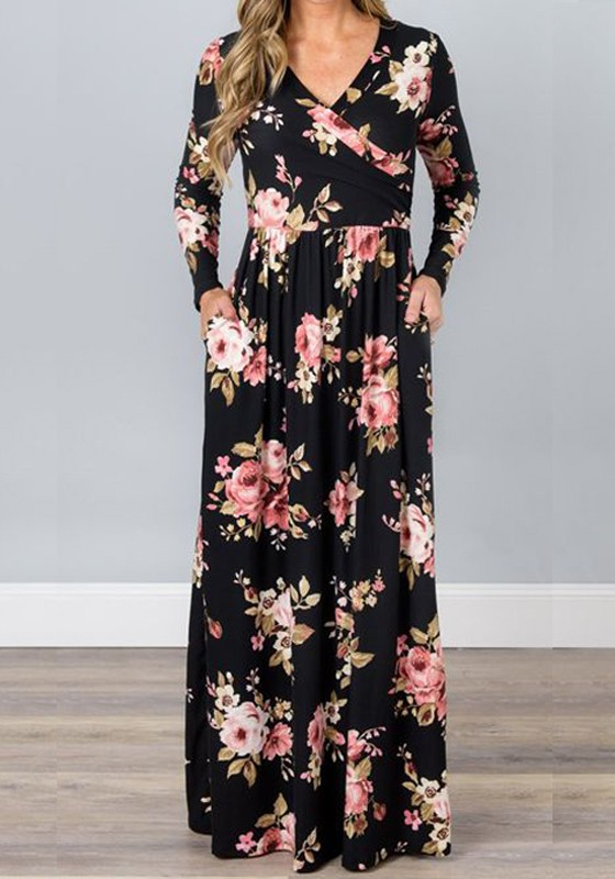 60d51138bf7 Black Floral Ladies Draped Pockets V-neck Long Sleeve Beach Maxi Dress - Maxi  Dresses - Dresses