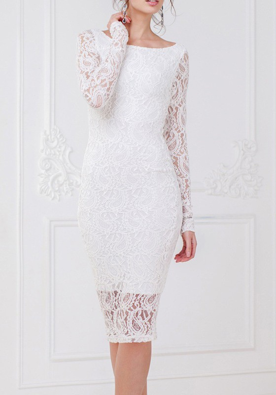 e77727b28ab White Lace Round Neck Long Sleeve Bodycon Fashion Midi Dress