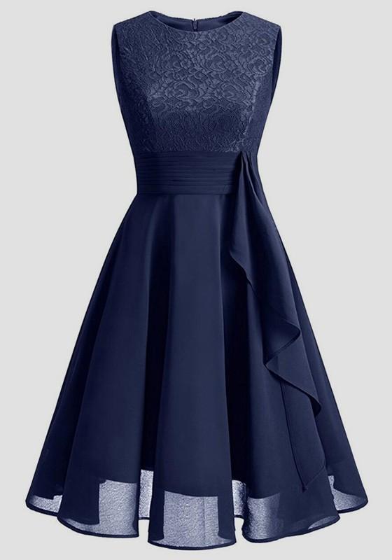 ff20da613d8 Navy Blue Patchwork Lace Draped Chiffon Round Neck Elegant Party Midi Dress  - Midi Dresses - Dresses