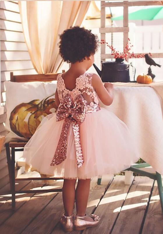 8843d73980c Mi-longue robe dos noeud papillon tutu en tulle mignon filles de soirée rose