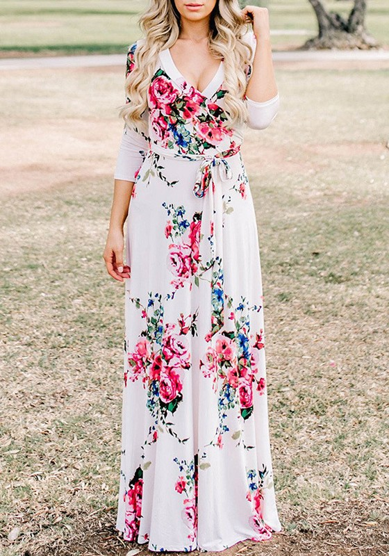 Pattern Maxi Dress with Sleeves