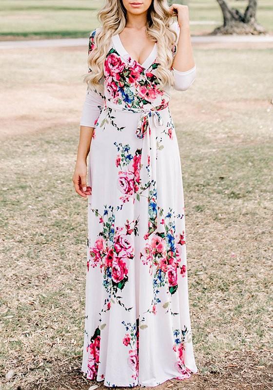 fd58169c24 White Floral Pattern Sashes Draped 3/4 Sleeve Deep V-neck Bohemian Maxi  Dress - Maxi Dresses - Dresses