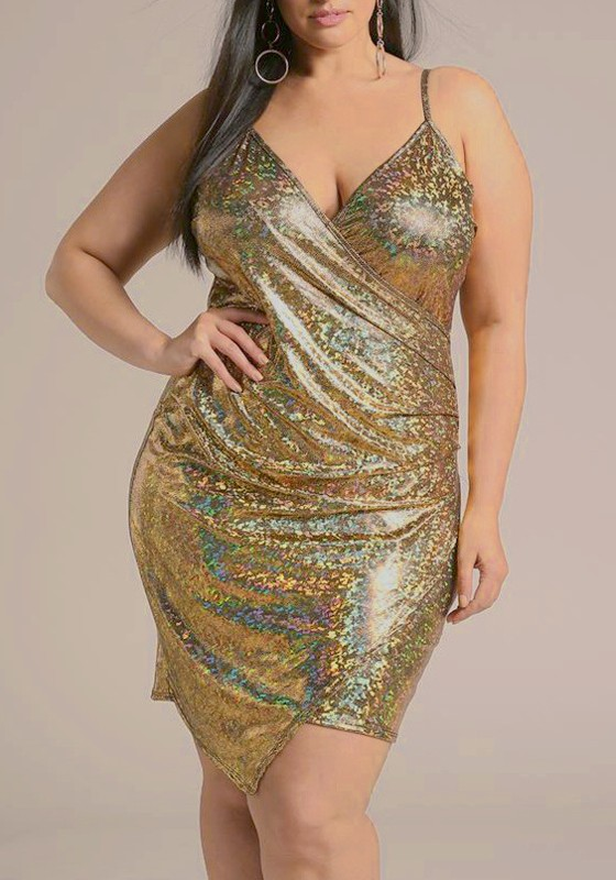 Golden Irregular Spaghetti Strap Backless Sparkly Plus Size Banquet