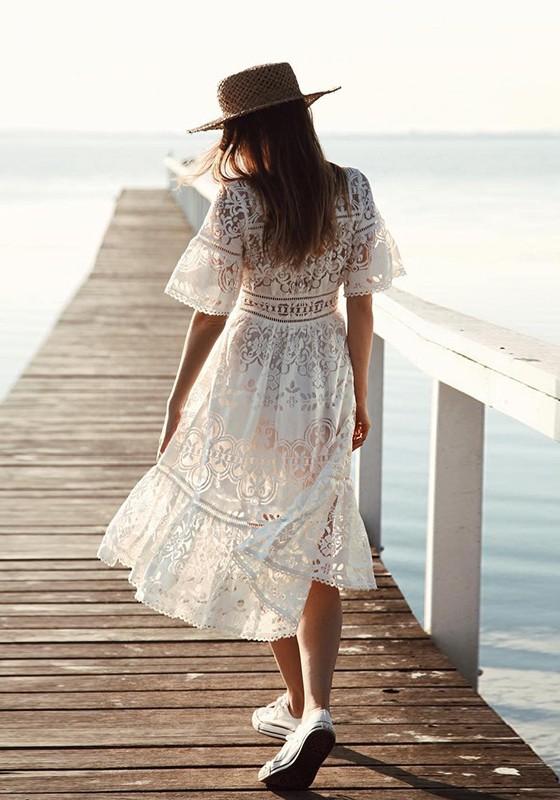 Weiß Spitze Blumen Einreiher Drapierte V-Ausschnitt Kurzarm Mode ...