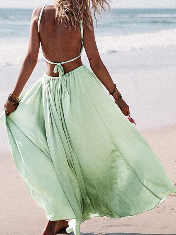 1495cc78034 Green Cut Out Pleated Sashes Beach Backless Flowy Clubwear Cute Maxi Dress  - Maxi Dresses - Dresses