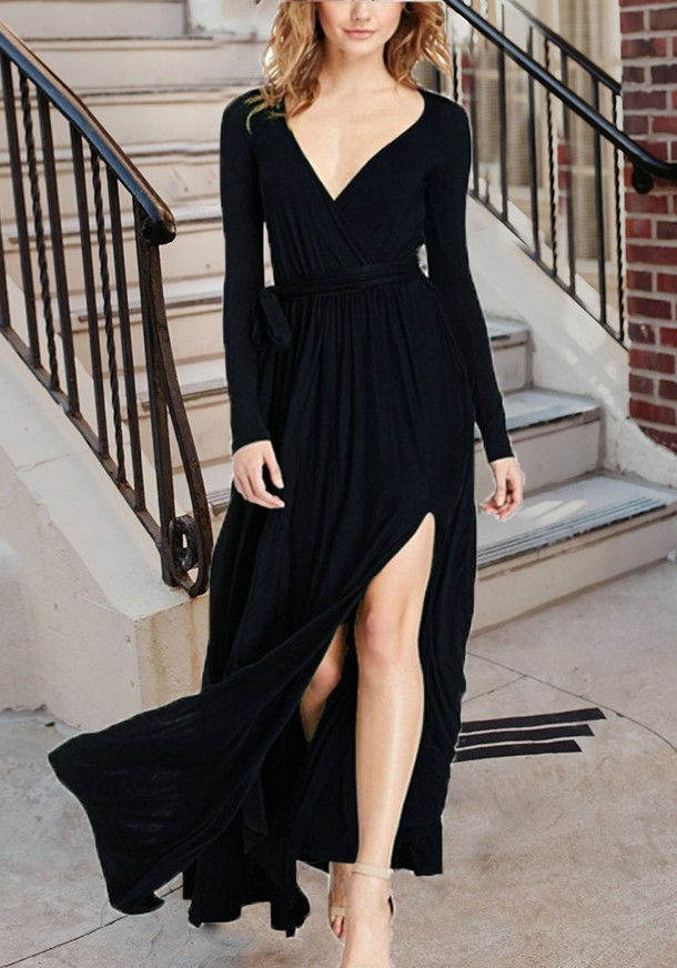 Black Draped Sashes Slit Flowy Lace Up Deep V Neck Elegant Vegas