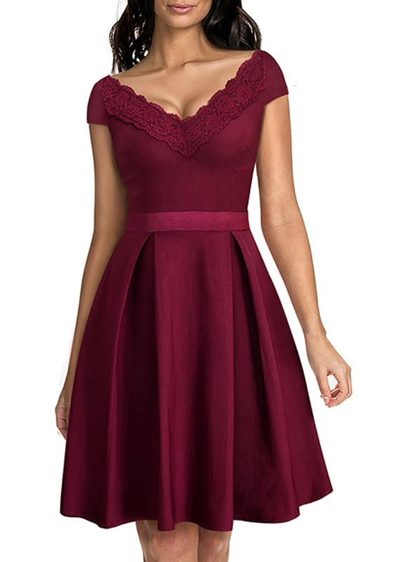 4de446ebfb90 Wine Red Patchwork Embroidery V-neck Short Sleeve Knee Length Fashion Midi  Dress - Midi Dresses - Dresses