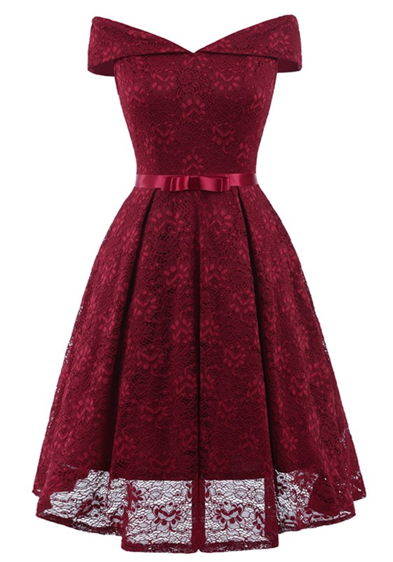 df3c720912b Wine Red Lace Off Shoulder Draped Bow Elegant Party Midi Dress - Midi  Dresses - Dresses