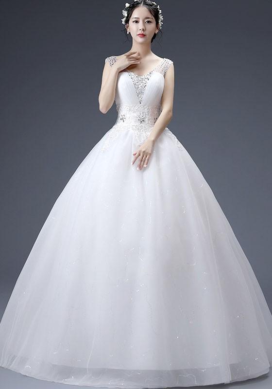 eef5372ae Vestido largo diamantes de imitación de adina espalda cruzada v-cuello  elegante tutú vestidos de novia blanco