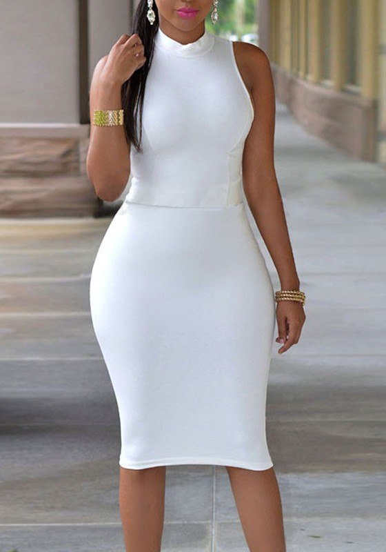 Plus Size White Midi Dress