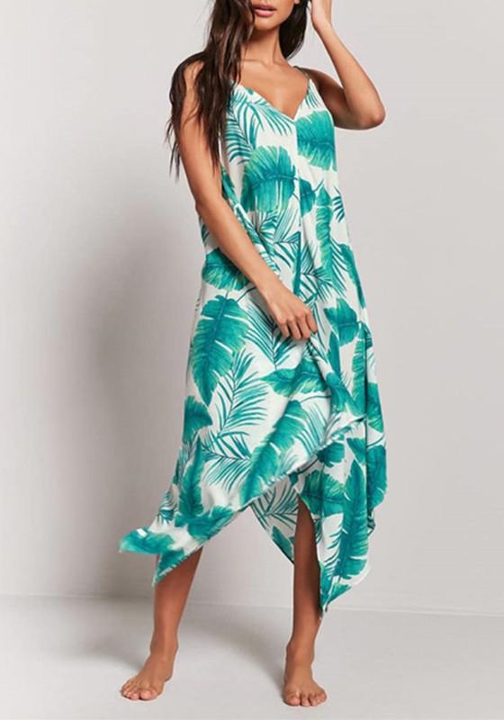 511cbf8f521 White Palm Leaf Print Spaghetti Strap Irregular Flowy Bohemian Las Vegas Maxi  Dress - Maxi Dresses - Dresses