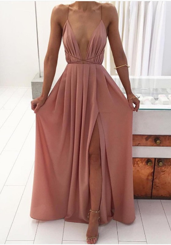 pink draped side slit lace up spaghetti strap backless flowy bohemian party maxi dress