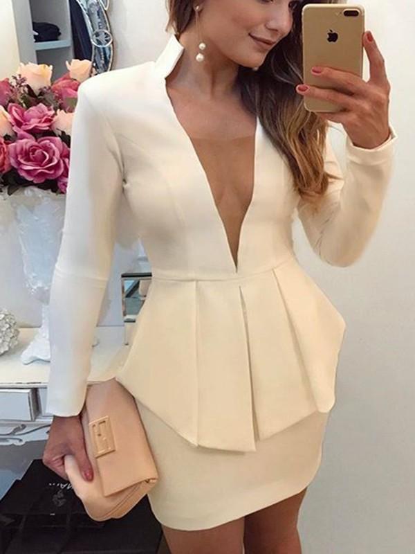 White Long Sleeve Mini Dresses