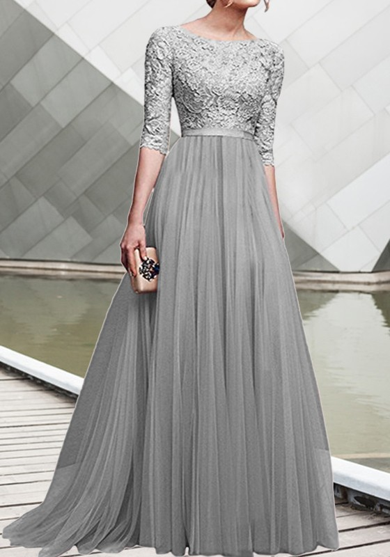 Grey patchwork lace pleated round neck elbow sleeve for Lace maxi wedding dress