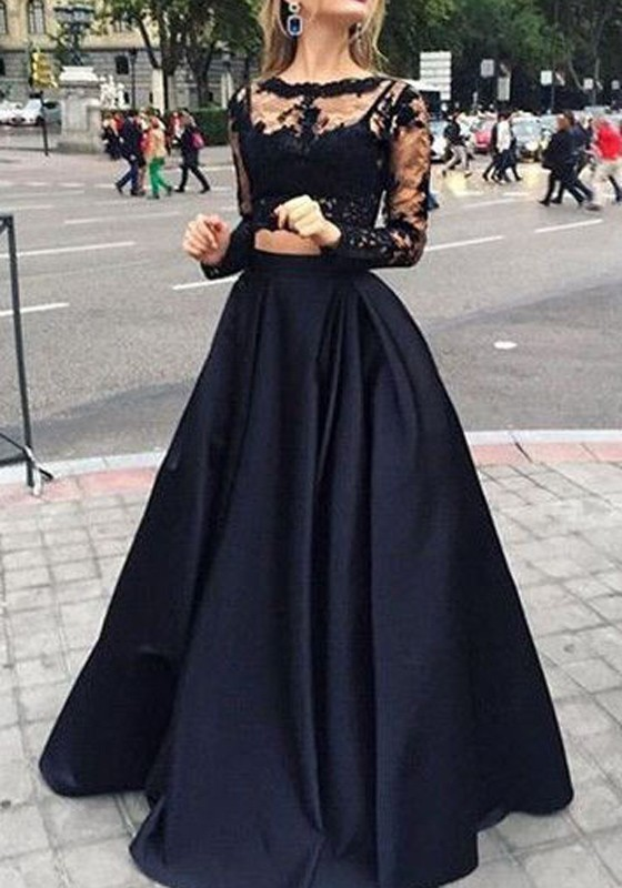 Black Patchwork Lace Pleated 2 In 1 Round Neck Long Sleeve Wedding