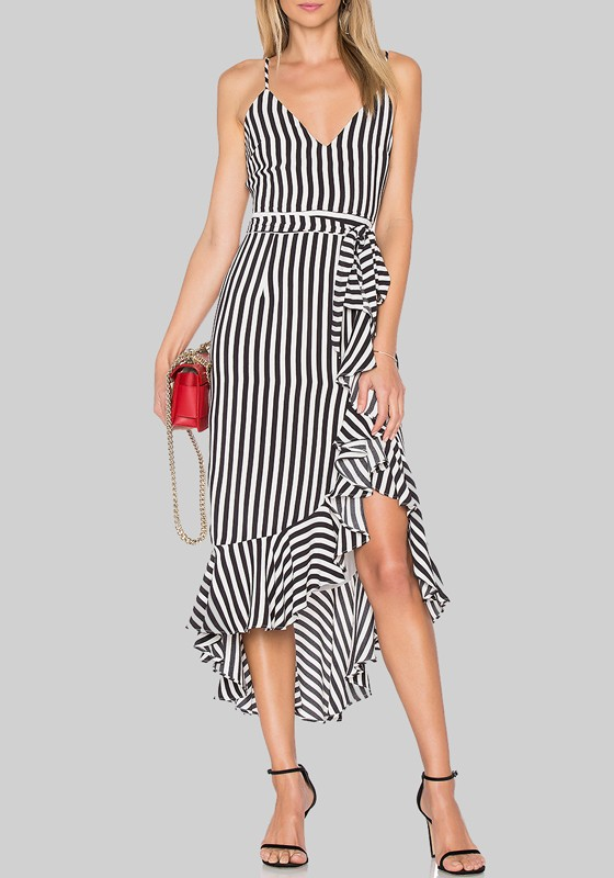 c1f31614d34e0 Black-White Striped Irregular Ruffle Draped Spaghetti Strap Backless High- low Graduation Party Midi Dress - Midi Dresses - Dresses