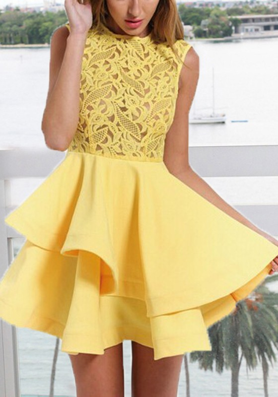 40c7b244369 Yellow Lace Pleated Ruffle Irregular Tutu Cute Sweet Homecoming Party Mini  Dress - Mini Dresses - Dresses