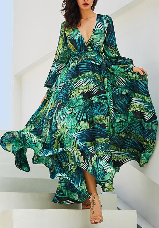 316b5ed12d9 Robe longue en mousseline imprimée tropicale feuille fluide manches longues  mode boho vert