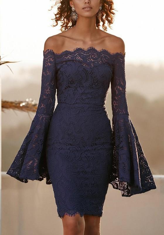 653d02c7678f Navy Blue Floral Lace Off Shoulder Backless Flare Sleeve Elegant Party Midi  Dress - Midi Dresses - Dresses