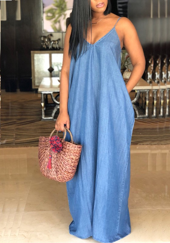 b0f0d61a74 Blue Draped Pockets Spaghetti Strap V-neck Casual Denim Maxi Dress - Maxi  Dresses - Dresses