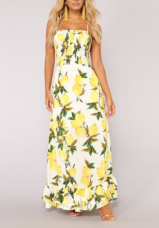 35de978af4b Yellow Lemon Print Ruffle Spaghetti Strap Off Shoulder Bohemian Elegant  Party Maxi Dress - Maxi Dresses - Dresses