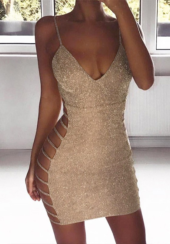 be4253181a26 Khaki Cut Out Bright Wire Spaghetti Strap Backless V-neck Sparkly Party Mini  Dress