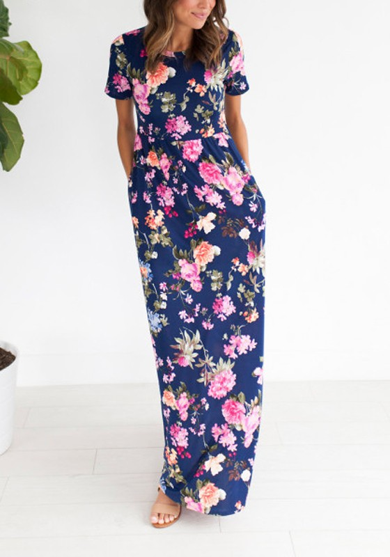 464303c481d5 Navy Blue Flowers Print Draped Pockets Knot Going out Bohemian Maxi Dress - Maxi  Dresses - Dresses
