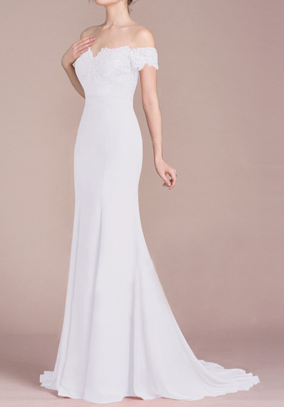 White Lace Draped Off Shoulder For Wedding Gowns Banquet
