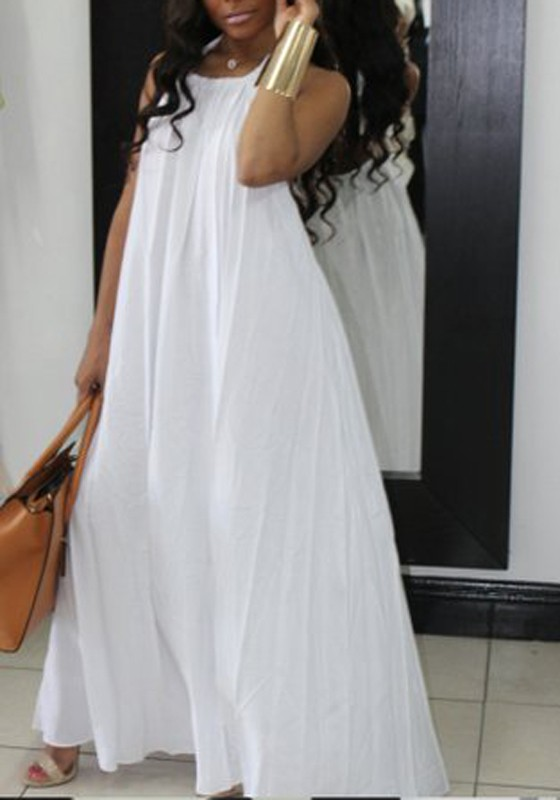 39d545ea17505 White Pockets Spaghetti Strap Halter Neck Backless Ruched Flowy Beachwear  Party Maxi Dress - Maxi Dresses - Dresses