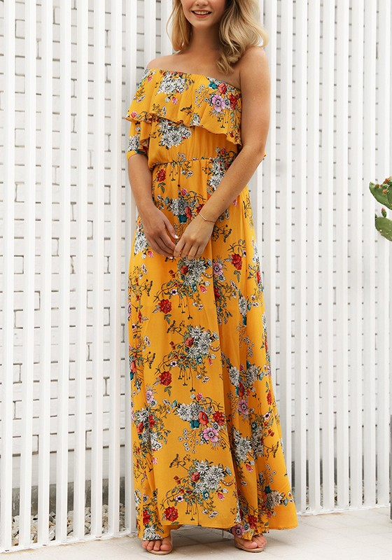 Yellow Floral Ruffle One Off Shoulder Flowy High Waisted Bohemian ...