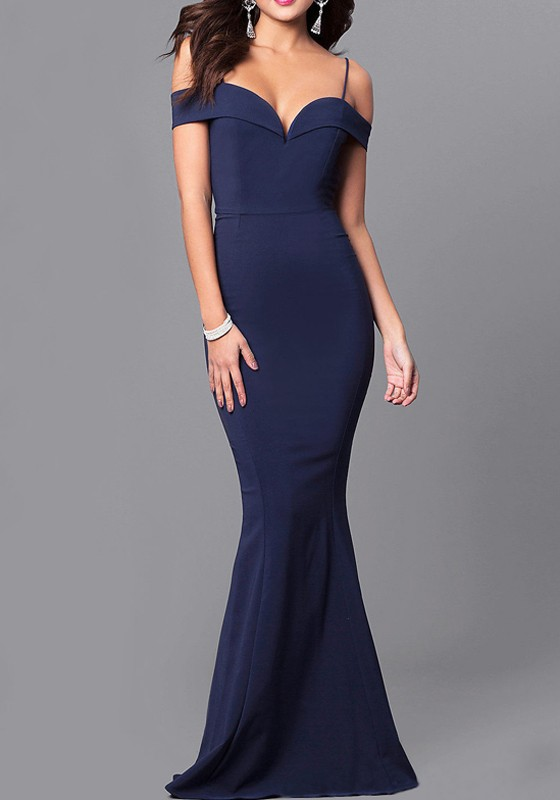 e41019ceb9 Sapphire Blue Ruffle Spaghetti Strap Off Shoulder Backless Banquet Elegant  Party Maxi Dress - Maxi Dresses - Dresses