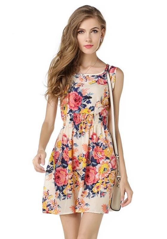 fa5e6345c Mini vestido estampado de flores cuello redondo moda rosa - Mini ...