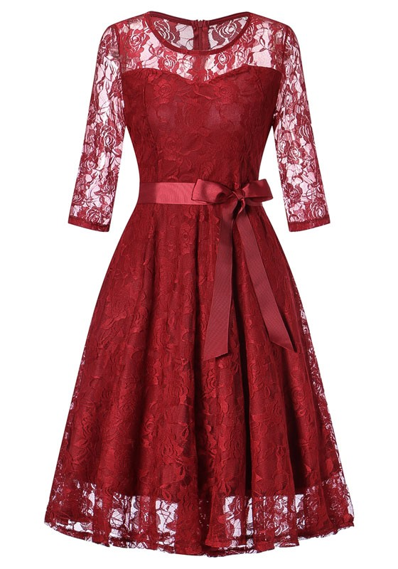 4679356b84 Burgundy Draped Lace Bow Sashes Banquet Hepburn Elegant Party Midi Dress