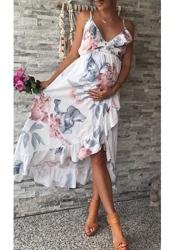 37d19677e2fd White Floral Ruffle Spaghetti Strap High-low baby shower Going out Midi  Summer Pregnancy Maternity