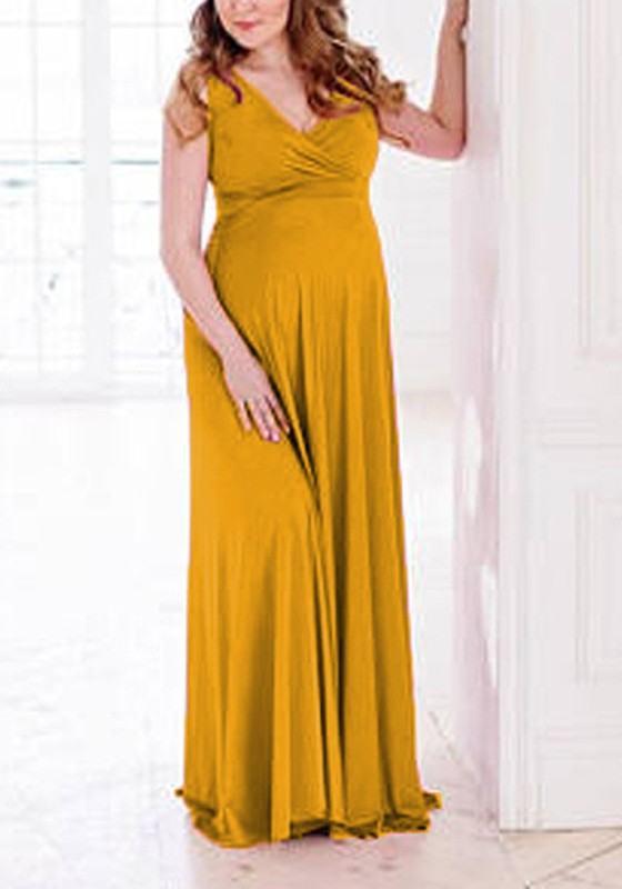 Yellow D Flowy V Neck Maternity For Babyshower Elegant Party Maxi Dress